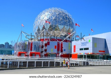 VANCOUVER, CANADA - JULY 27: Science World at Telus World of  Science on July 27 , 2014 in Vancouver, Canada. It has many interactive science exhibits and displays, and popular attraction in Vancouver - stock photo