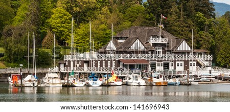 VANCOUVER, CANADA - MAY 12: Historic Vancouver Rowing Club in Stanley Park in Coal Harbor on May 12, 2007 in Vancouver, Canada. The park opened in 1888 and is 10% larger than New York's Central Park. - stock photo
