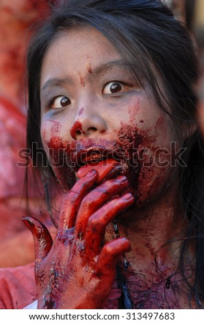VANCOUVER, CANADA - SEPTEMBER 5, 2015: People dressed as zombies attend the annual Zombie Walk in Vancouver, Canada, Sep.5, 2015. - stock photo