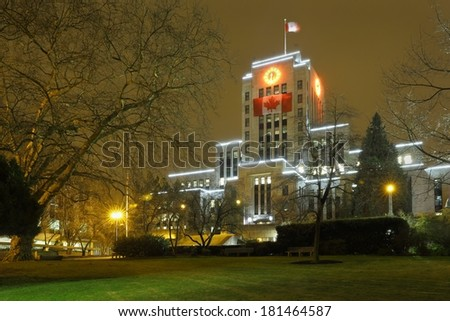 Vancouver City Hall Night. The Vancouver City Hall building at night. Vancouver, British Columbia, Canada.  - stock photo