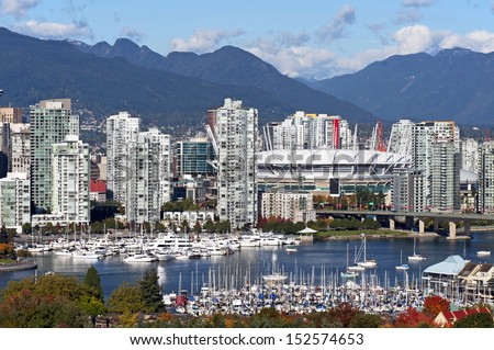 Vancouver - downtown, False Creek, BC Place Stadium and Cambie Bridge - stock photo