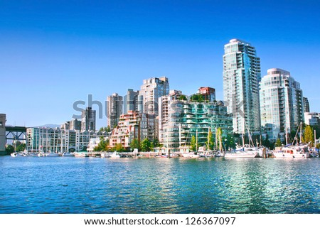 Vancouver downtown skyline at False Creek, British Columbia, Canada - stock photo