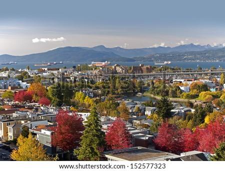 Vancouver - False Creek, Granville Island, Granville Bridge and English Bay - stock photo