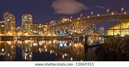 Vancouver - Granville Street Bridge at dusk - stock photo
