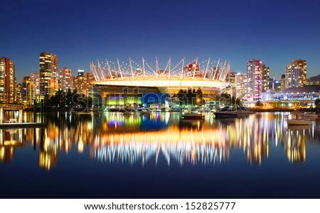 VANCOUVER - JULY 21: BC Place Stadium in Vancouver, Canada on July 21, 2013. Vancouver has been ranked the third most liveable city in the world for the second year in a row. - stock photo