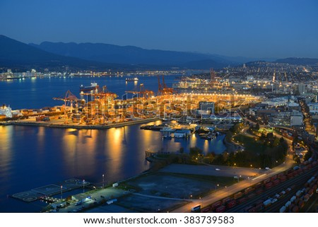 VANCOUVER - NOV 13: Port of Vancouver district at night, photo taken from the Harbour Centre tower on November 13th, 2014 in Vancouver, British Columbia, Canada. - stock photo