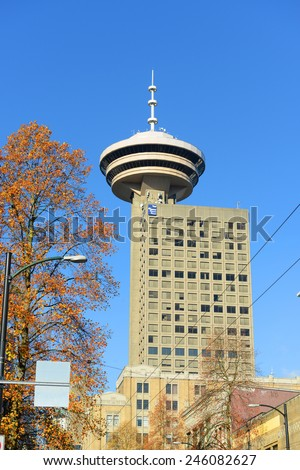 VANCOUVER - NOV 13: Vancouver city skyline and Harbour Centre Tower on November 13th, 2014 in Vancouver, British Columbia, Canada. - stock photo