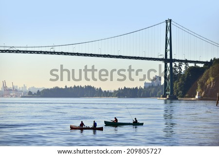 Vancouver - sea fishing by Stanley Park - stock photo