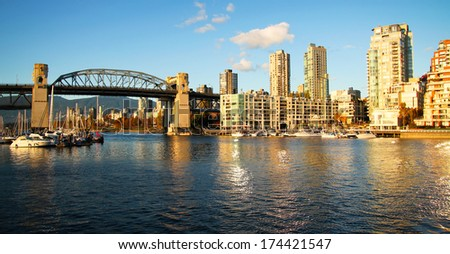 Vancouver skyline and the bridge by a nice sunny day - stock photo