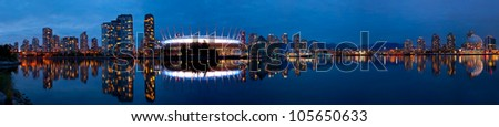 Vancouver skyline as view from False Creek. - stock photo