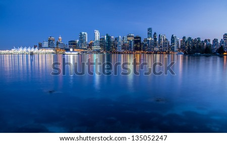 Vancouver skyline at night - stock photo