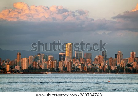 Vancouver skyline at red sunset, British Columbia, Canada - stock photo