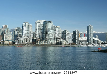 Vancouver Waterfront With BC Place Stadium - stock photo