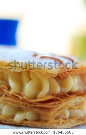 Vanilla cream cake dessert Shallow DOF - stock photo