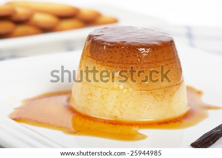 Vanilla cream caramel dessert and cookies on white dish. Shallow depth of field - stock photo