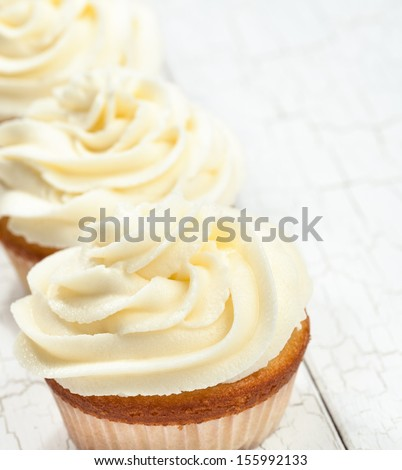 Vanilla Cupcakes - stock photo