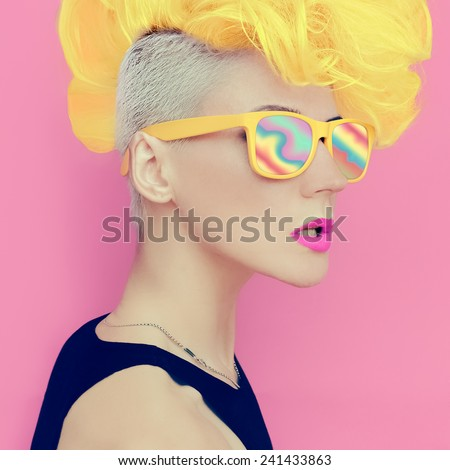 Vanilla disco punk style. Glamorous lady party - stock photo