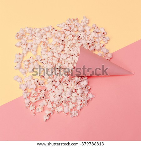 Vanilla Fashion Style. Popcorn in the Cone. Minimalism art - stock photo