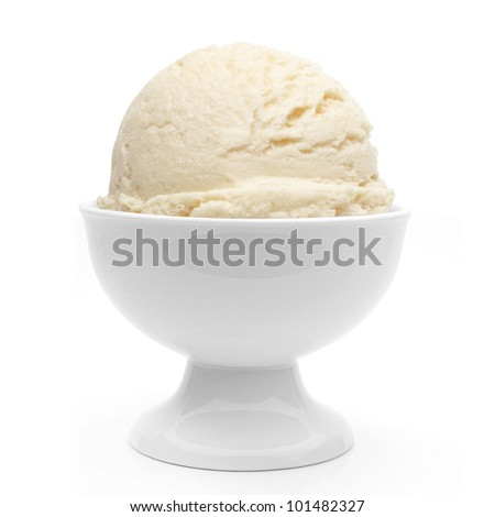 Vanilla ice cream in bowl on white background - stock photo