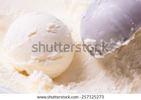 Vanilla ice cream scoop background - stock photo