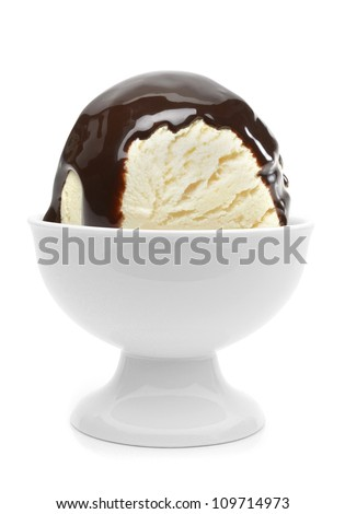 Chocolate sauce Stock Photos, Images, & Pictures ... Vanilla Ice Cream In A Bowl With Chocolate Syrup