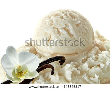 Vanilla ice cream with vanilla beans - stock photo