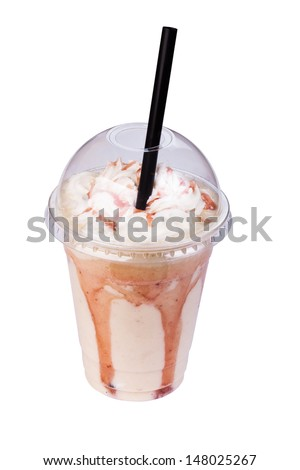 Vanilla milkshake in take away cup - stock photo