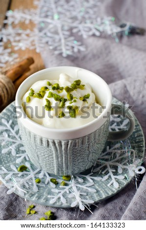 Vanilla pudding in a cup. Selective Focus - stock photo