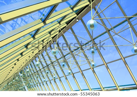 vanishing abstract ceiling in office center - stock photo