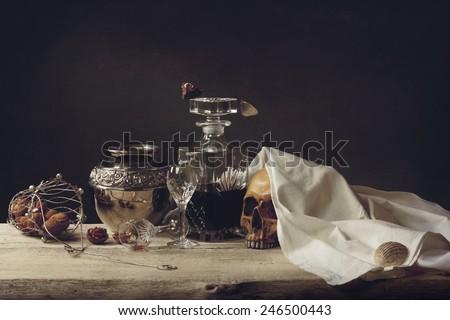 Vanitas Life, death and the resurrection  - stock photo