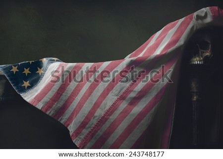 Vanitas of the american Flag with human Skull - stock photo