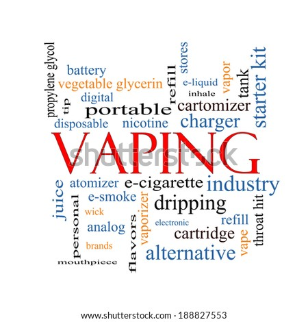 Vaping Word Cloud Concept with great terms such as e-cigarette, nicotine, atomizer and more. - stock photo