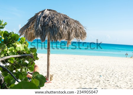 Varadero beach in Matanzas,Cuba a tourist landmark and one of the most popular tourism destination in the Caribbean - stock photo