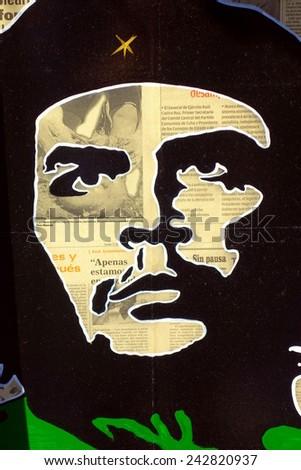 VARADERO, CUBA - DECEMBER 10, 2014: Che Guevara poster on sale at a street sboot in Varadero, Cuba. - stock photo