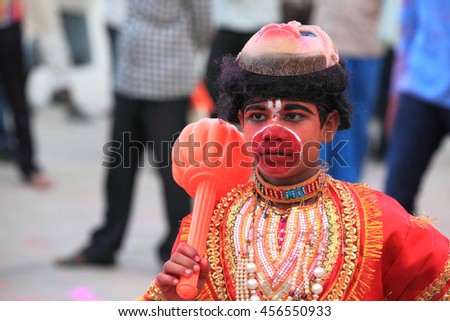 VARANASI, INDIA- MAR 03:Unidentified man wears costume of Hindu God 'Hanuman' at the river ghat on March 03, 2016 in Varanasi, Uttar Pradesh, India.Varanasi is the most popular pilgrim place in India. - stock photo