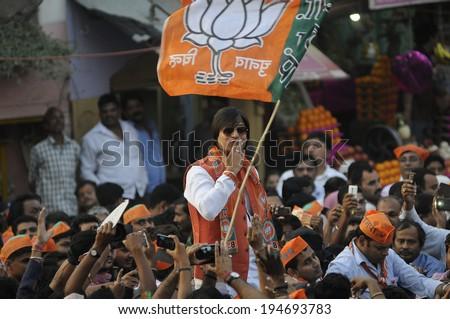 VARANASI - MAY 6:  Bollywood actor Vivek Oberoi  campaigning for Narendra Modi   during a road show on May 6, 2014 in Varanasi , India.  - stock photo