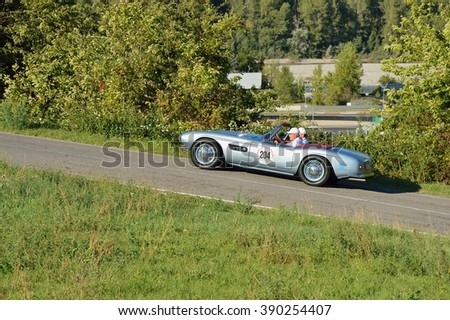 VARANO (PR), ITALY - SEPTEMBER 18: A light blue BMW 507 Roadster takes part to the GP Nuvolari classic car race on September 18, 2015 near Varano (PR). The car was built in 1957. - stock photo