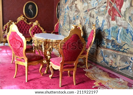 VARENNA, ITALY - AUGUST 16, 2014:  Interior of Villa Monastero, one of the most interesting attractions of the lake Como thanks to its strategic location, its history,  landscape, environment  - stock photo
