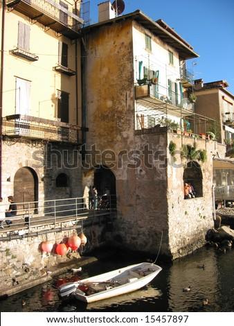 Varenna, old Italian town on the coast of lake Como - stock photo