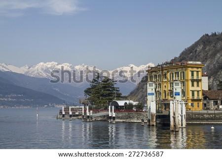 Varenna - Ship ferry pier on Lake Como - stock photo
