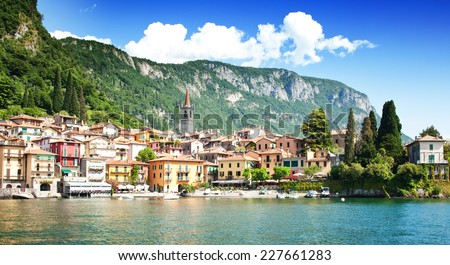 Varenna village, Como lake - stock photo