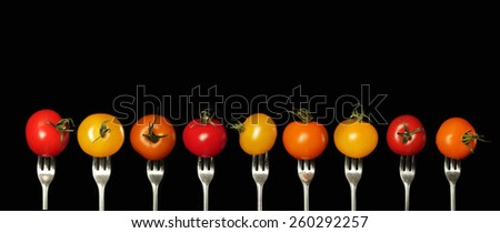 Variation of tomato on a fork of different colors on a black background - stock photo
