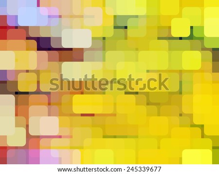 Varicolored abstract of overlapping rounded squares, many yellow or gold, arranged with geometric regularity and a seeming yellow horizontal gradient, enhanced by the illusion of three dimensions - stock photo