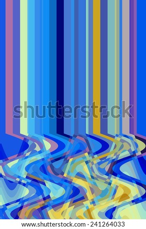 """Varicolored abstract of solid parallel stripes above a """"spaghetti"""" of overlapping sine waves, with predominance of blue, for themes of mutation, divergence, nonconformity, and coexistence - stock photo"""