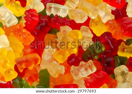 varicoloured fruit jellies.It is isolated on a white background - stock photo