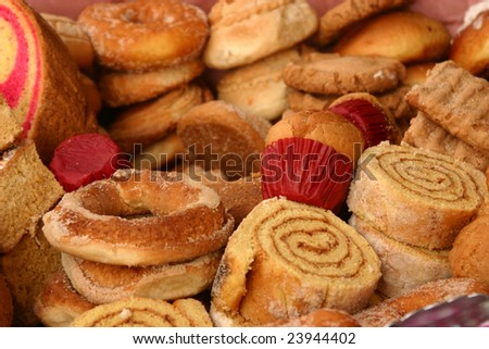 Varieties of bread on sale by a vendor in the Zocalo of Acapulco in Mexico - stock photo