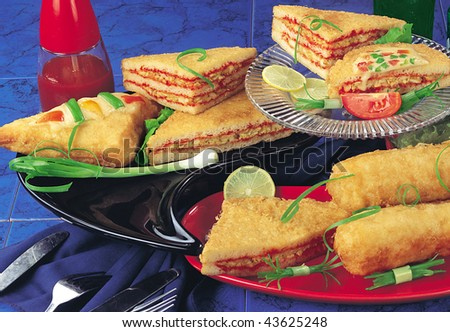 Varieties of Fried Sandwiches - stock photo