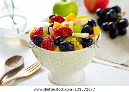 Varieties of fruits salad in a bowl - stock photo