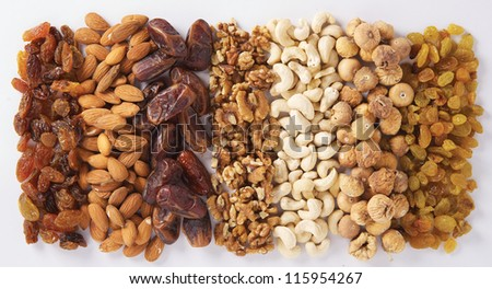 Varieties of nuts on white as a background - stock photo