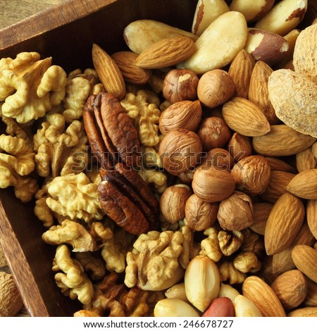 Varieties of nuts: peanuts, almonds, brazil nut, walnuts   and pecans. Food and cuisine. - stock photo
